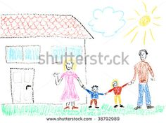 stock-photo-child-drawing-of-family-and-new-home-made-with-wax-crayons-38792989.jpg (450×336)