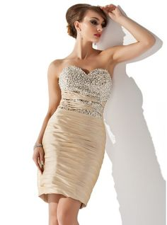 Sheath/Column Sweetheart Knee-Length Taffeta Cocktail Dress With Ruffle Beading Sequins