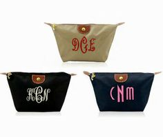 Customize this  monogram nylon pouch with a fabulous embroidered monogram or writing.  Use it for make up, as a clutch bag, travel pouch and so much more.
