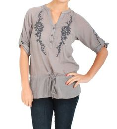 Amazon.com: Timing Boho Floral Embroidered Tunic in Grey: Clothing