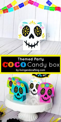 This beauty themed party Coco Candy Box can be used to decorate the candy table of your Coco movie party, I´m sure all your guests will love it. Disney Halloween, Halloween Party, Halloween Crafts For Toddlers, Toddler Crafts, Movie Party, Party Time, Party Box, Movie Crafts, Crafts To Make And Sell