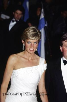 April, 1991:  Princess Diana Attending A Reception At The Municipal Theatre Of Rio During An Official Tour Of Brazil. She Is Wearing A Dress Designed By Fashion Desinger Gina Fratini For Hartnell. #designer #dress