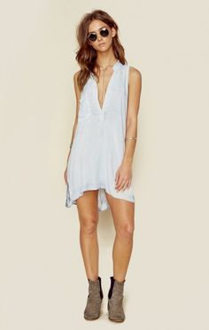 Blue Life New Bohemian Clothes Sleeveless Shirt Dress