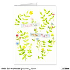 Thank you very much greeting card by Paloma Navio
