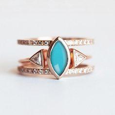 Boho style engagement ring