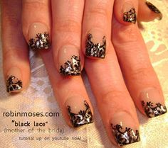 "Nail-art by Robin Moses: ""black lace nail art"" ""beautiful wedding nail art"""