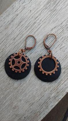 Boucles d'oreille steampunk en chambre à air recyclée et