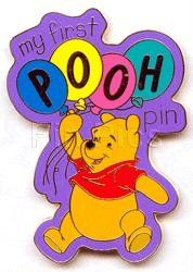 Walt Disney World (WDW) My First Pooh Pin.  Released July 2000 at Walt Disney World (WDW) Pooh is holding a bunch of balloons against a purple background with the words My First Pooh. It is only available with a specific purchase. Disney used this pin for promotional use only and it was never sold.  This is courtesy of pinpics site.