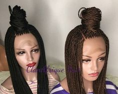 Mirco braided wig handmade on full lace wig - Braided wig - Braids- Box braids - Lace wigs - Frontal wigs - Braided lace wigs - Mirco braids Black Girl Short Hairstyles, Cute Girls Hairstyles, Braided Hairstyles For Wedding, Wig Hairstyles, School Hairstyles, Updo Hairstyle, Box Braid Wig, Braids Wig, Twist Braids