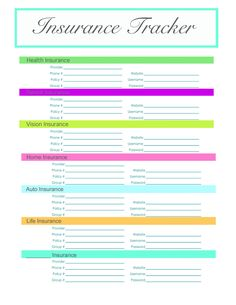 Insurance tracker with several other free printables on her blog