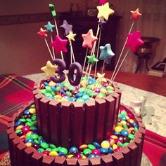 Stole this idea from a friend.  Looks awesome!  Birthday cake bordered with Kit Kats and topped with M & Ms!  Yum....