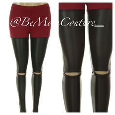 Tomb Raider Leggings with Spandex + Leather Combo! Knee Slit! Very Trendy & Chic!