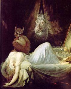 """The Nightmare"" by John Henry Fuseli (Johann Heinrich Füssli), (Goethe-Museum, Frankfurt). Fantasy Kunst, Fantasy Art, Städel Museum, Sleep Paralysis, Arte Obscura, Demonology, William Blake, Fine Art, Mythical Creatures"