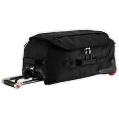 The North Face Rolling Thunder 22-Inch Carry On Bag, TNF Black. Super-tough Base Camp body material paired with rugged nylon for extra durability. External top zippered pocket for easy access when in an overhead compartment. Perforated, exposed back panel reduces weight without sacrificing strength. Plastic bumpers on wear points for extra abrasion resistance. Two external zippered pockets on face of bag for extra organization.