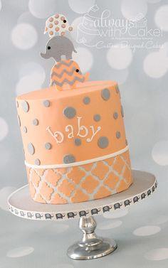 Baby shower elefante pastel 42 ideas for 2019 Torta Baby Shower, Girl Shower Cake, Elephant Baby Shower Cake, Elephant Cakes, Grey Baby Shower, Elephant Theme, Baby Elephant, Baby Shower Parties, Baby Shower Themes