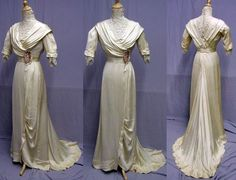 Ivory reception gown, 1910-12. Silk.