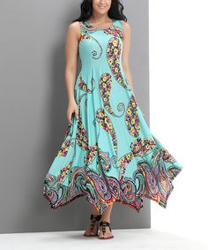 Look at this Aqua Swirl Sleevless Handkerchief Maxi Dress - Plus on #zulily today!