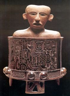 Teotihuacan host figure inside a Maya funerary tripod vessel at Becan, 550 AD.