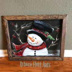 Christmas snowman by RebecaFlottArts on Etsy Christmas Snowman, Christmas Signs, Christmas Decorations, Whimsical Christmas, Vintage Christmas, Holiday Decor, Peony Painting, Painting On Wood, Tole Painting