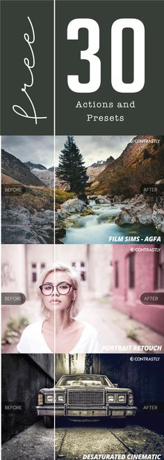 30 Free Actions and Presets from Contrastly 30 KOSTENLOSE Lightroom-Presets und Photoshop-Aktionen von Contrastly! Free Photography, Photography Lessons, Photoshop Photography, Photography Tutorials, Photography Camera, Photography Business, Photo Hacks, Photo Tips, Photoshop Tutorial