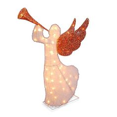 5-Foot Animated Lighted Christmas Angel with Trumpet