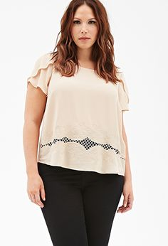 Embroidered Chiffon Blouse | Forever 21 PLUS - 2000118385