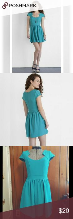 """Jun & Ivy Teal Cap Sleeve Dress Adorable dress for many occasions -Jun & Ivy brand -Used to be sold at Francesca's -Cap sleeve dress -Interesting neckline that adds an edge -Textured dress -Teal color (a touch more green than stock pic) -32"""" back seam length -13.5"""" waist -17"""" bust -22"""" zipper (hidden in back seam) -Size small -Self: 95% Polyester & 5% Spandex -Lining: 100% Polyester -Machine Wash -Imported from China Style it with a necklace & heels for a date night out or with some…"""