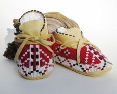 Unique Baby Shoes Red & White Beaded Native American Made Baby