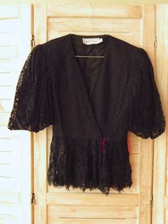 1980s Lace Blouse with Shoulder Pads and Puffy Sleeves #fashion #etsymnt