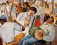 """This painting is called """"Fiesta en el Campo"""" created by artist Yoryi Morel in 1945. """"Fiesta en el Campo"""" translates to party in the field."""