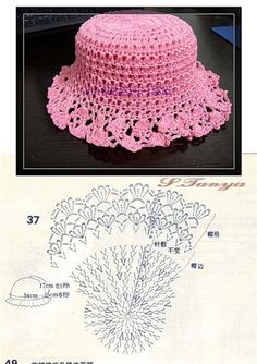 Pink Hat free crochet graph pattern