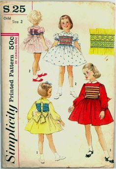 1960s Party Dress Smocked Simplicity S 25 Size 2 Breast 21 Vintage Sewing Pattern Smocking