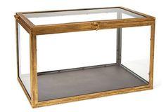"20"" Metal & Glass Curio Box, Gold OKL 20 x 12 $89"
