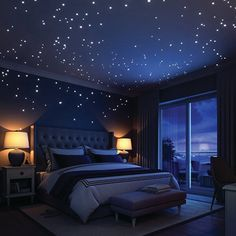 Glow In The Dark Stars Wall Stickers, 252 Dots and Moon for Starry Sky, Perfect For Kids Bedding Room or Birthday Gift, Beautiful Wall Decals by LIDERSTAR, Delight The One You Love. Bedroom Themes, Home Decor Bedroom, Kids Bedroom, Kids Rooms, Girl Bedrooms, Bedroom Designs, Geek Bedroom, Trendy Bedroom, Space Theme Bedroom