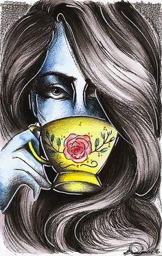 Tea Time, by Lidiane Dutra | Ilustração #illustration #watercolor #teatime #portrait #painting