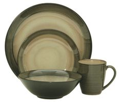 The Sango Roma Sage Dinnerware Set features a gentle sage green exterior with creamy interior. Find everyday low prices at Plum Street Pottery.