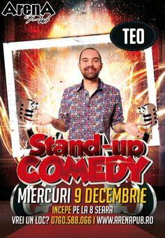 Miercuri, 9 Decembrie 2015, ora 20:00, Arena Pub, Bucuresti Comedy Show, Stand Up Comedy, Movies, Movie Posters, Film Poster, Films, Popcorn Posters, Film Posters, Movie Quotes