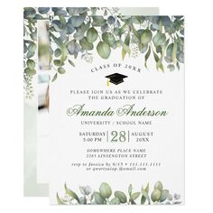 Shop Elegant Watercolor Eucalyptus Graduation Party Invitation created by Elle_Design_Graduate. Graduation Celebration, Graduation Party Invitations, Nursing Graduation, Graduation Cards, Elegant Invitations, Zazzle Invitations, Invitation Ideas, Custom Stationery, Customized Gifts