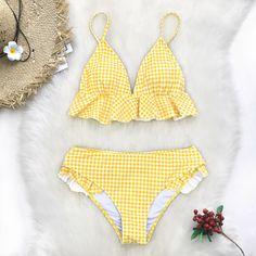 49ba2fc88523 Yellow Gingham Ruffled Bikini. Ruffled Bikini TopMost Beautiful DressesBikini  SetBikini TopsTwo Piece SwimsuitsColor PopGinghamTwo PiecesBeach Girls