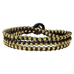 AeraVida Triple Wrap Mini Brass Beads Single Strand Brown Cotton Rope... ($22) ❤ liked on Polyvore featuring jewelry, bracelets, multiple colors, beaded jewelry, cord bracelet, bracelet bangle, cotton cord bracelet i brown bracelet