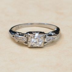 Antique 1930's 18k White Gold European Cut by SITFineJewelry, $2,895.00