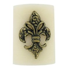 """3"""" x 4"""" Ivory Scented Mottled Pillar Candle with Fleur-de-Lis 