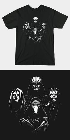 Star Wars Bohemian Rhapsody T Shirt | This awesome Sith Queen mashup design features Darth Vader, Darth Maul, Darth Sidious (The Emperor) and Kylo Ren. | Visit http://shirtminion.com/2015/11/star-wars-bohemian-rhapsody-t-shirt/