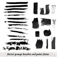 Illustration about Vector collection with grunge brush strokes and paint stains. Illustration of design, drawn, background - 55763125 Watercolor Texture, Pink Watercolor, Watercolor Background, Abstract Watercolor, Watercolor Illustration, Brush Strokes Painting, Black Splash, Distressed Texture, Vintage Grunge