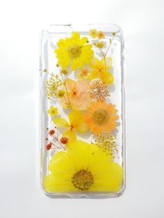 Annys workshop, Handmade phone case, Pressed flowers phone case, iPhone 6 plus, Yellow color