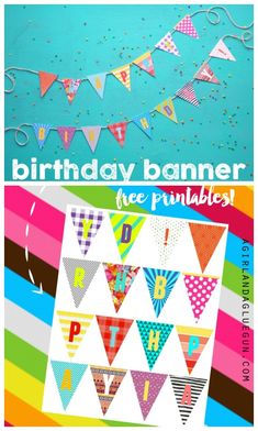 birthday banner with free printables colorful Birthday banner with free colorful prints Happy Birthday Banner Printable, Birthday Banner Template, Free Printable Banner, Happy Birthday Banners, Free Printables, Birthday Signs, Party Printables, Diy Party Banner, Diy Spring
