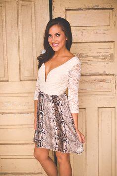 Lace & Snakeskin Pattern Dress - Dottie Couture Boutique