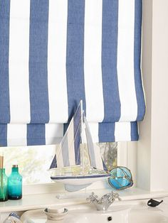 Amelie Delft Blue Roman Blind - create a nautical effect with this gorgeous roman blind. #blinds #roman #stripes