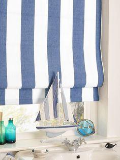 Amelie Delft Blue Roman Blind - create a nautical effect with this gorgeous roman blind. #blinds #roman #stripes