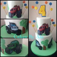 Blaze and the monster machine Blaze Birthday Cake, One Year Birthday Cake, Cookie Cake Birthday, 5th Birthday, Birthday Cakes, Birthday Parties, Birthday Ideas, Torta Blaze, Car Themed Parties